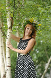 Beautiful young woman near the birch Stock Images