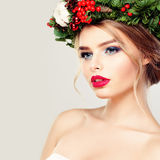 Beautiful Young Woman in Wreath Stock Image
