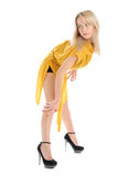 Beautiful young woman in yellow Royalty Free Stock Images