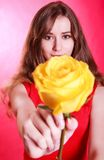 Beautiful young woman with a yellow rose Royalty Free Stock Photos
