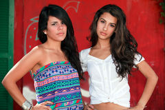 Beautiful Young Women. In a outdoor fashion pose with a red graffiti background stock photography