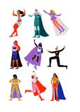 Beautiful Young Women in Bright Superhero Costumes with Capes Set, Super Girls Characters in Different Poses Vector. Illustration on White Background vector illustration