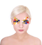 Beautiful young women with colorful art makeup Stock Images