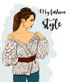 Beautiful young women in fashion clothes. Detailed female character with accessories. vector Stock Images