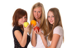 Beautiful young women with fruit Royalty Free Stock Photography