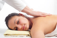 Beautiful young women getting a massage Stock Photos