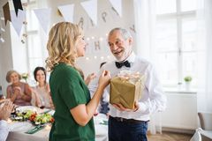 Young woman giving a gift to her grandfather on indoor party. Beautiful young women giving a gift to her father or grandfather on indoor party royalty free stock photos