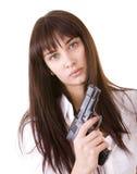 Beautiful young women with gun. royalty free stock photos