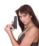 Beautiful young women with gun. Royalty Free Stock Image