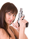 Beautiful young women with gun. Royalty Free Stock Photography