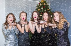 Beautiful young women having fun at a Christmas party, blowing away confetti and snow, sending kisses. New year, holiday, royalty free stock photography