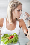 Beautiful young women with healthy habits Stock Photos