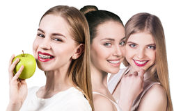 Beautiful young women with healthy smile Stock Images