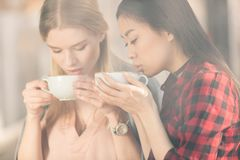 Beautiful young women holding white cups and drinking fresh coffee coffee. Break concept stock photography