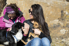 Beautiful young women laughing and  hugging dogs. Happy friends   hugging dogs outdoor Stock Images