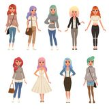 Beautiful young women with long dyed hair set, stylish girls in fashion clothes vector Illustrations on a white. Beautiful young women with long dyed hair set vector illustration