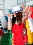 Beautiful young women with packages Royalty Free Stock Image