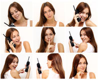 Beautiful young women with phone Royalty Free Stock Photos