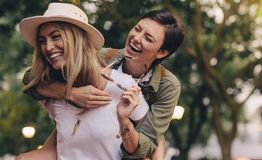 Best friends having great time together royalty free stock image