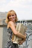 Beautiful young woman shopping. stock photography