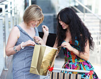 Beautiful young women after shopping Stock Images