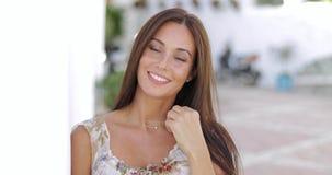 Beautiful young women smiling at camera stock video