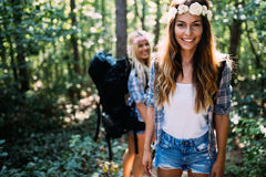 Beautiful young women spending time in nature Royalty Free Stock Photography