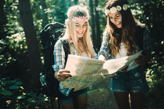 Beautiful young women spending time in nature Stock Photos