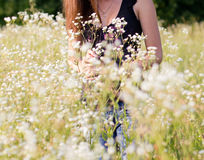 Beautiful young women standing in meadow Stock Photos