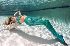 Beautiful young women in a swimsuit, or mermaids tail above and Royalty Free Stock Photos
