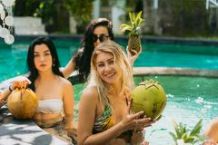 beautiful young women in swimwear holding tropical fruits and cocktails royalty free stock photography