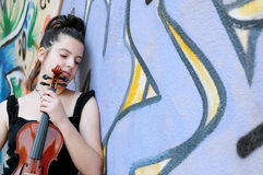 Beautiful young women and violin Royalty Free Stock Photography