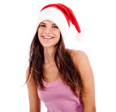 Beautiful young women wearing santa's hat. Isolated on white backround royalty free stock photo