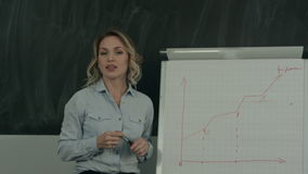 Beautiful young worker making business presentation using flipchart stock video footage