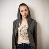 Beautiful Young Youth Girl With Shaven Head In Hoody Stock Photography