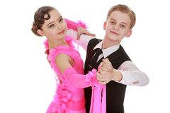 Beautiful youth dance couple, the children speak Royalty Free Stock Images