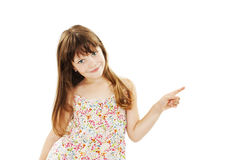Beautiful youth girl presenting copy space. Isolated on white background stock photography