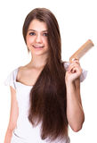 Beautiful youth teen girl with comb Stock Photos