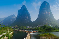 Beautiful Yu Long river Karst mountain landscape Royalty Free Stock Images
