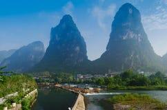 Beautiful Yu Long river Karst mountain landscape royalty free stock images