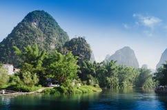 Beautiful Yu Long river Karst mountain landscape Stock Image