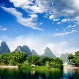Beautiful Yu Long river Karst mountain landscape Royalty Free Stock Photography