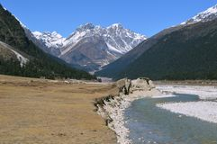 Beautiful yumthang valley of sikkim ,India river carry snow melting cold fresh water stock photo