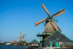 Beautiful Zaanse Schans windmill landscape in Holland, The Netherlands royalty free stock photo