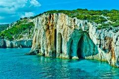 Beautiful Zakynthos island,Greece. Blue Caves, rocks on Zakynthos Island royalty free stock images