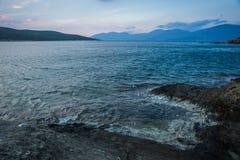 Beautiful Zastani beach at sunset, Evia, Greece Royalty Free Stock Photos