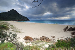 Beautiful Zenith Beach Port Stephens. Zenith Beach Port Stephens with Mt Tomaree at its far end Royalty Free Stock Images