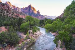 Beautiful Zion national park at sunset,utah,usa. royalty free stock photos