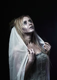Beautiful zombie corpse bride. Portrait of beautiful zombie corpse bride looked scary and standing at dark background. shot in studio Stock Photography