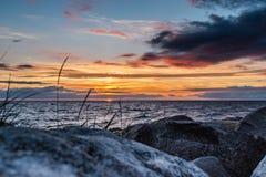 Beautiful zonsondergang bij Oostzee Royalty-vrije Stock Afbeelding